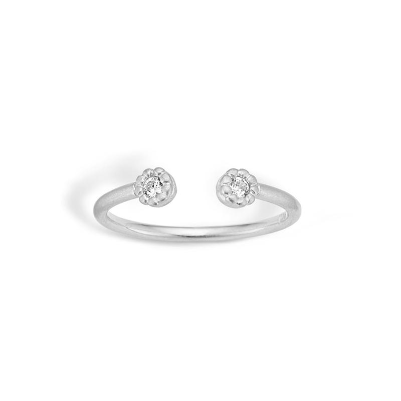 Image of   Blossom mat åben sølv ring med cubic zirkoner