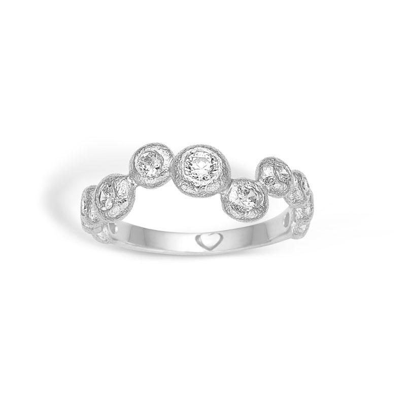 Image of   Blossom sølv boble ring med cubic zirkoner