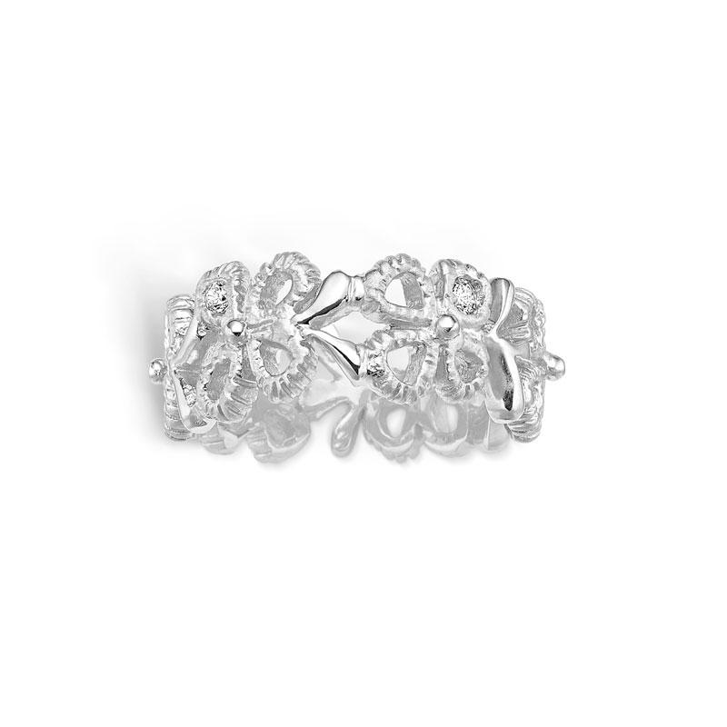 Image of   Blossom sølv bred blomster ring med cubic zirkoner