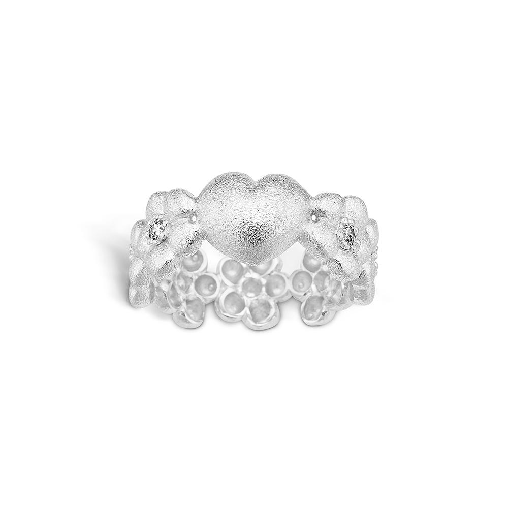 Image of   Blossom sølv blomster ring med 1 stk hjerte rhod. mat hamret