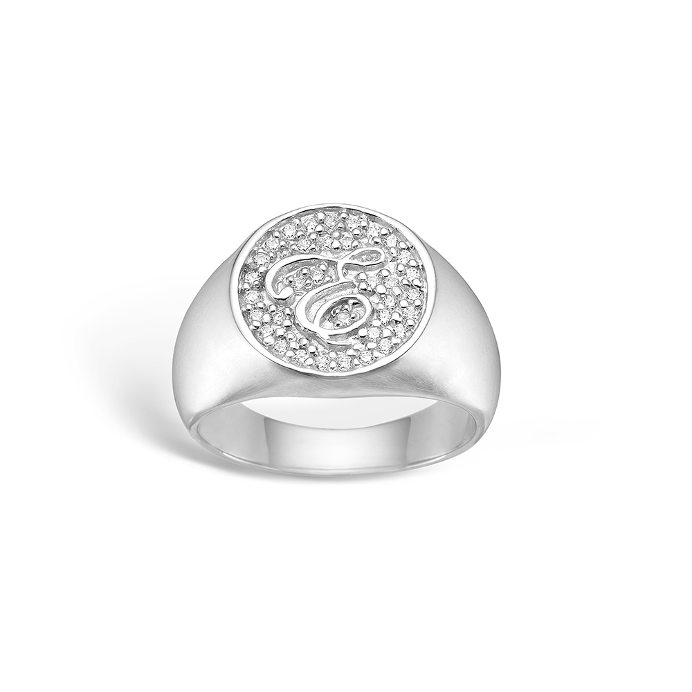 E-Signature sølv ring rhod. 'e-signet' blank hvid CZ