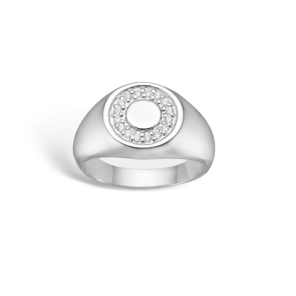 E-Signature sølv ring rhod. 'signet' blank hvid CZ