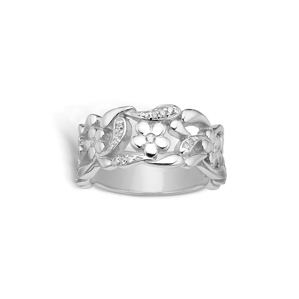 E-Signature sølv ring rhod. blank blomster CZ
