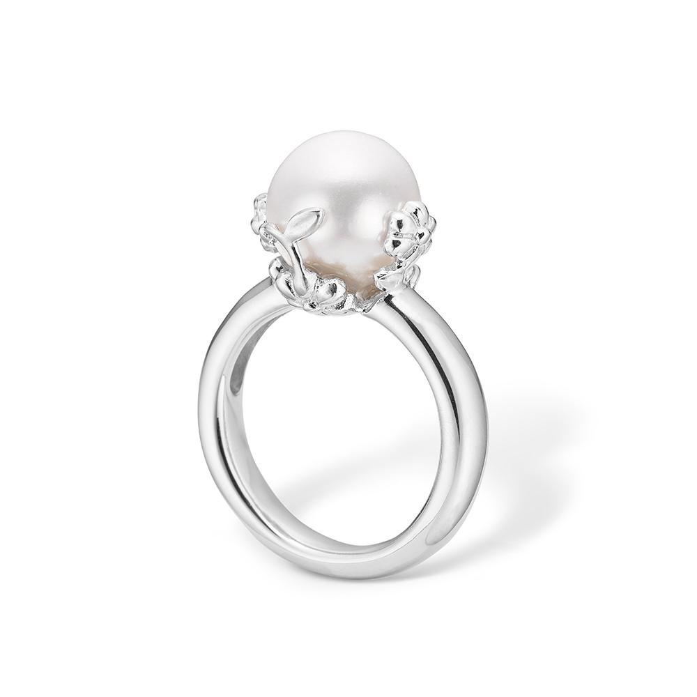 Image of   Blossom sølv hvid perle ring rhod.
