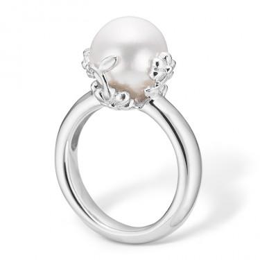 Image of   Blossom sølv ring rhod. hvid FVP