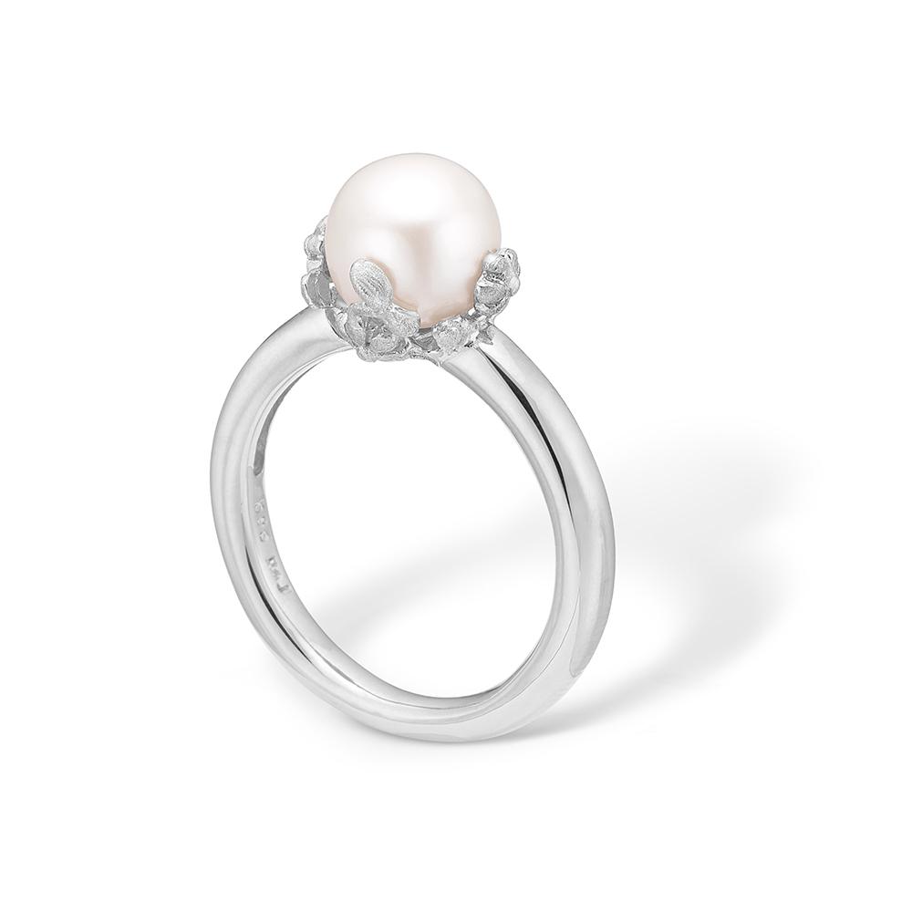 Image of   Blossom sølv ring med lille hvid perle rhod.