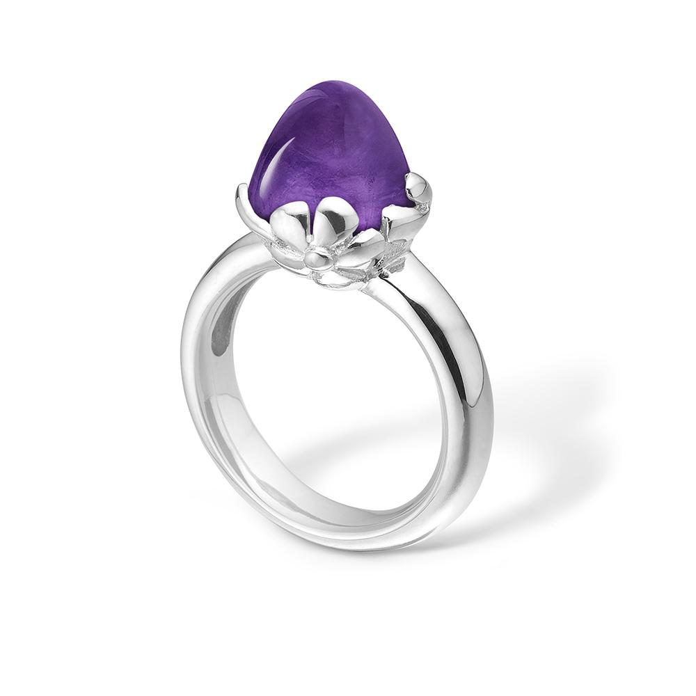 Blossom sølv ring med stor lilla ametyst rhod.