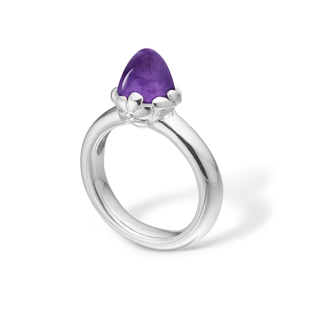 Blossom sølv ring med mellem lilla ametyst rhod