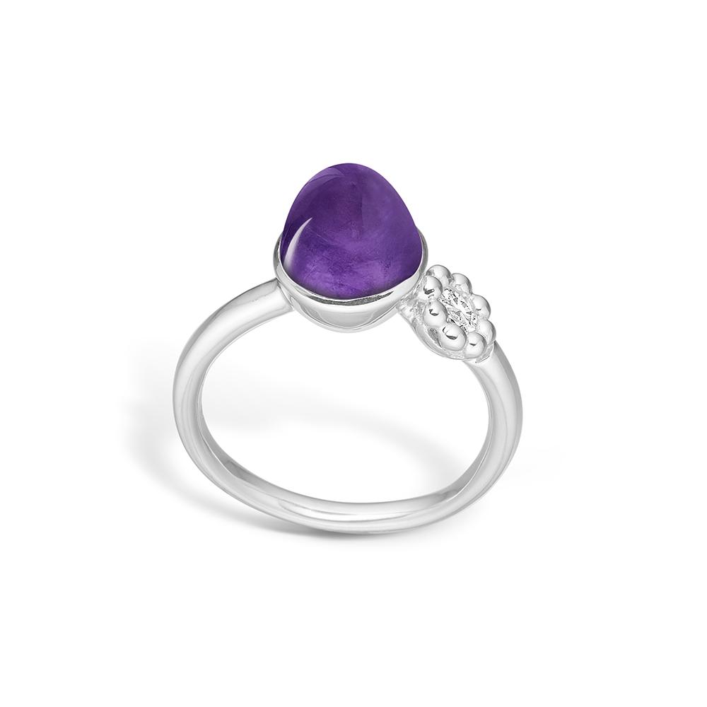 Blossom sølv ring med lille lilla ametyst rhod med cz