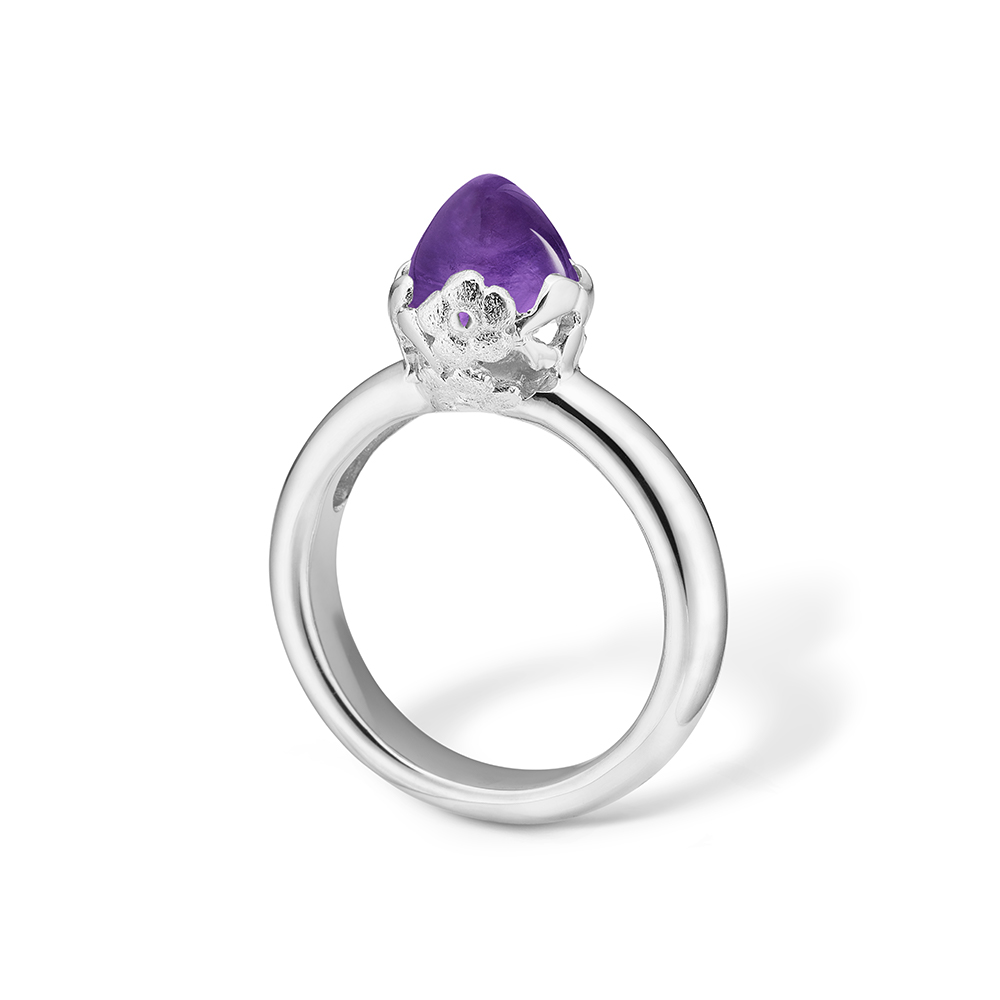 Image of   Blossom sølv ring med lille lilla ametyst og blomster rhod.