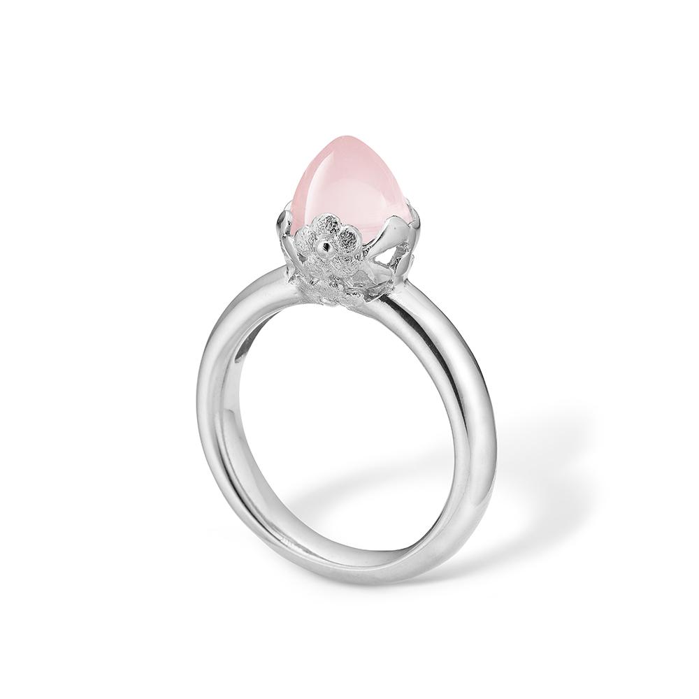 Image of   Blossom sølv ring med lille lyserød rosakvarts og blomster rhod.