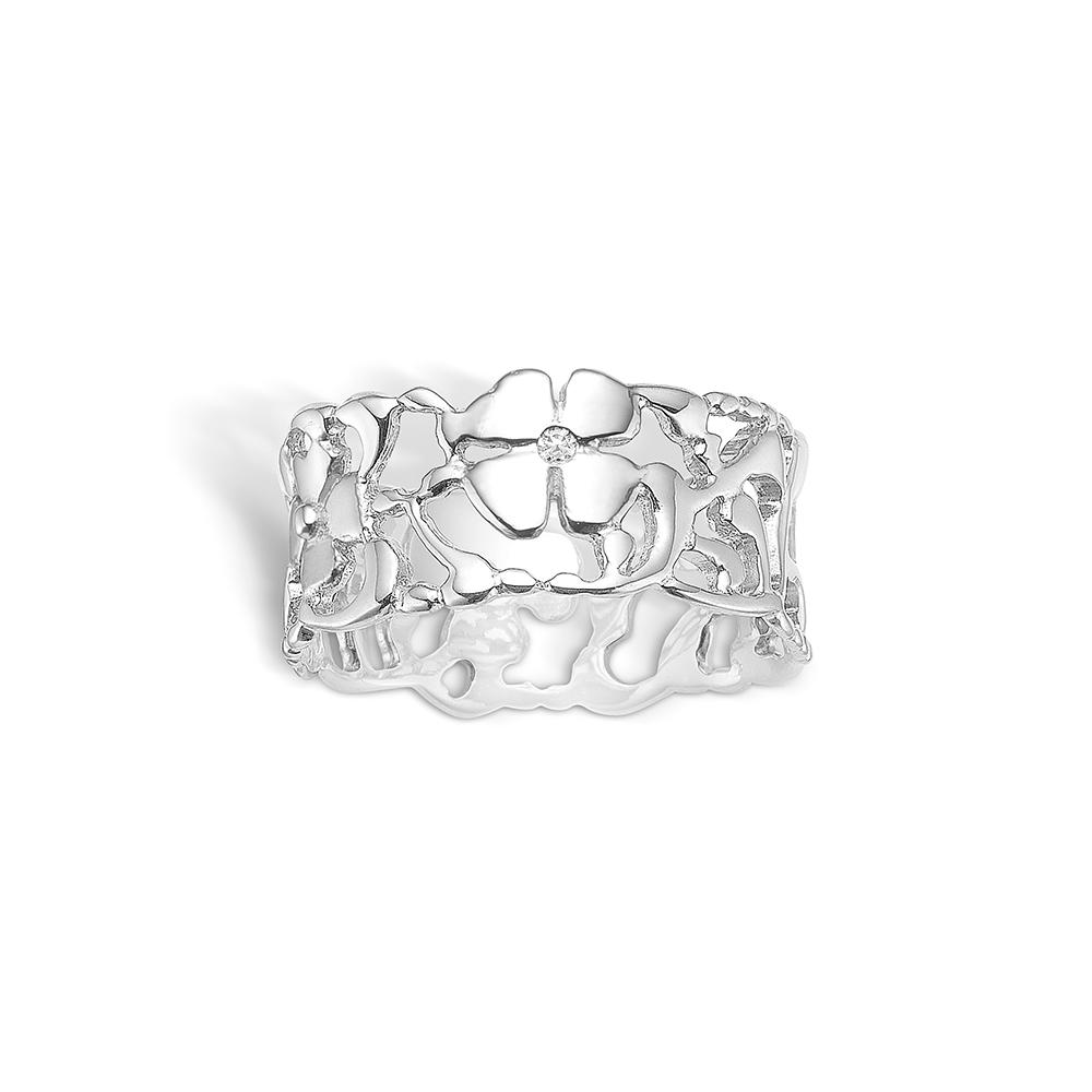 Blossom sølv ring med blomster 1 stk diamant 0,01 ct., bred model rhod.
