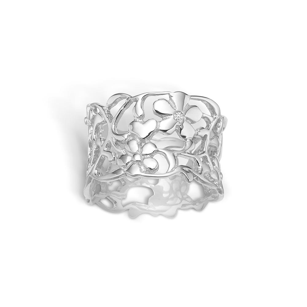 Blossom sølv ring med blomster og 1 stk diamant 0,01 ct., bred model rhod.