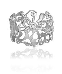 Image of   Blossom sølv ring rhod. bred blank CZ