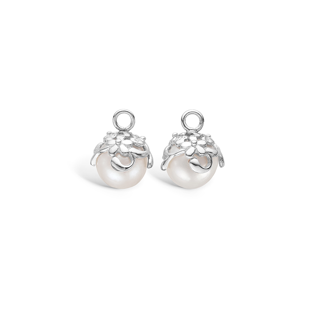 Image of   Blossom sølv perle vedhæng til creoler, 8 mm
