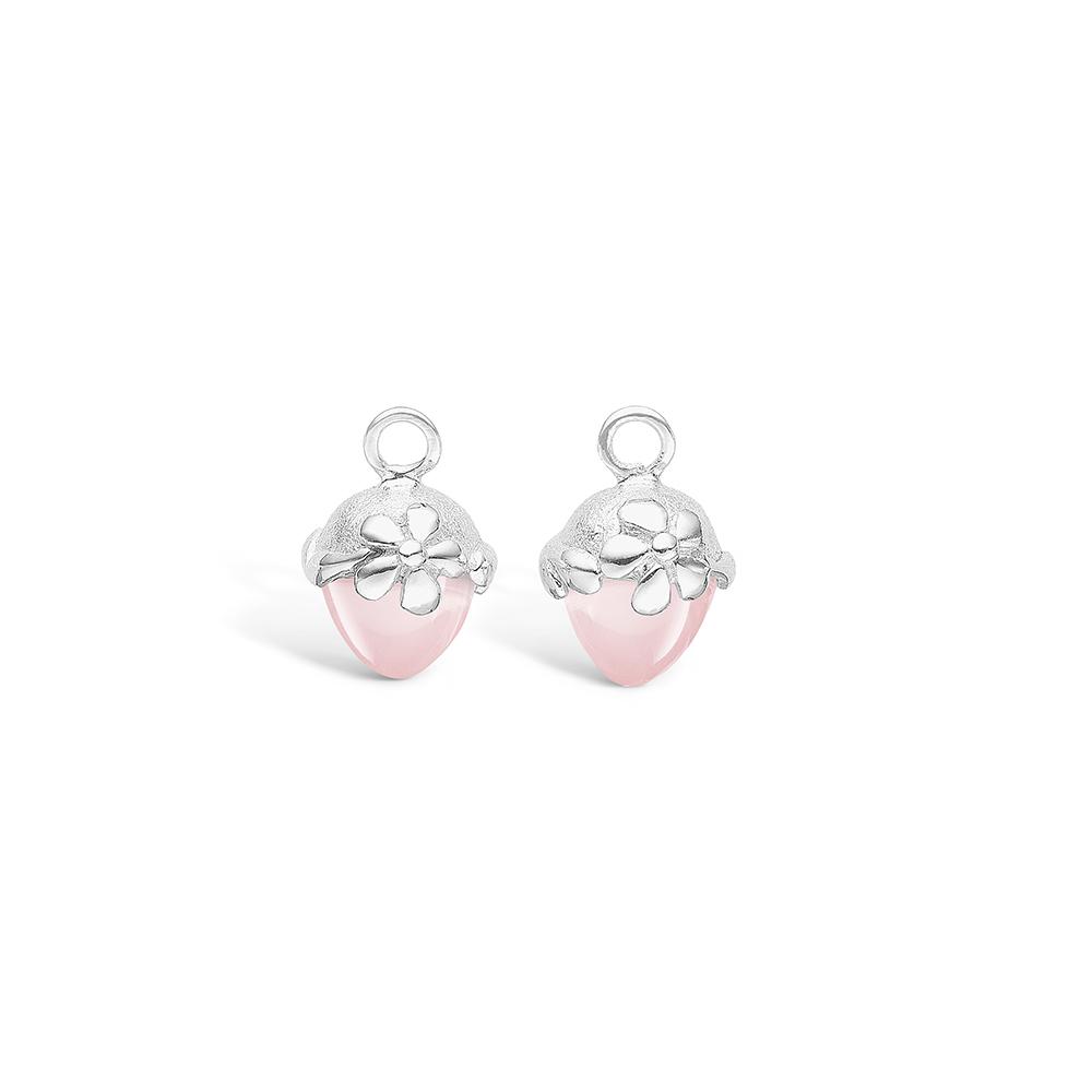 Blossom sølv vedhæng til creoler med lille lyserød rosakvarts