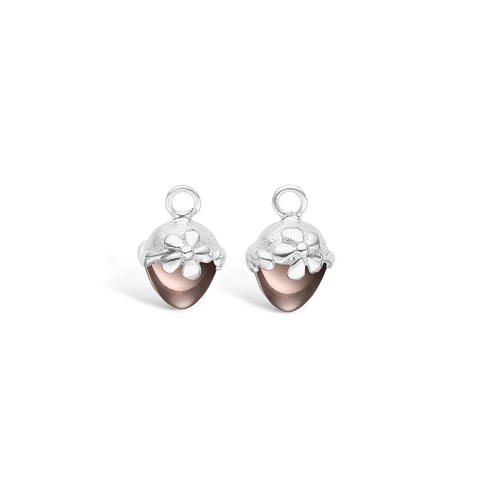 Blossom sølv vedhæng til creoler med lille brun Røgkvarts
