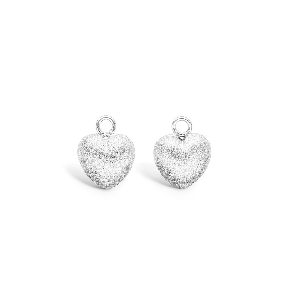Image of   Blossom sølv hjerte vedhæng til creoler