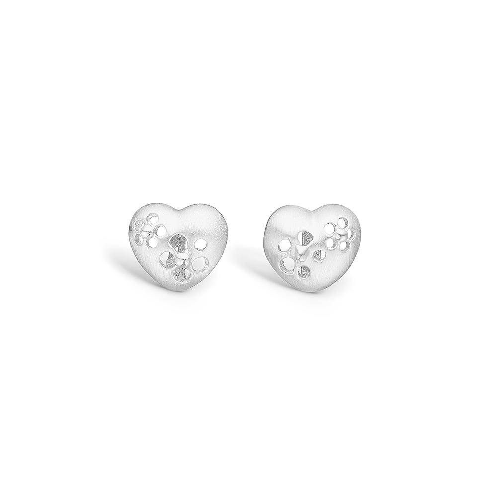 Image of   Blossom sølv hjerte ørestikker med blomster hulmønster rhod.