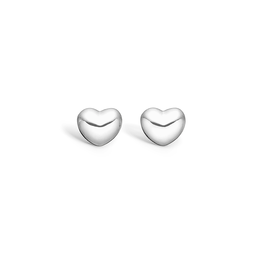 Image of   Blossom sølv ørestikker blank hjerte rhod.