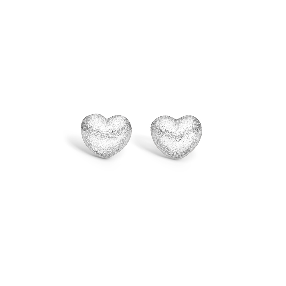Image of   Blossom sølv ørestikker mat hamret hjerte rhod.
