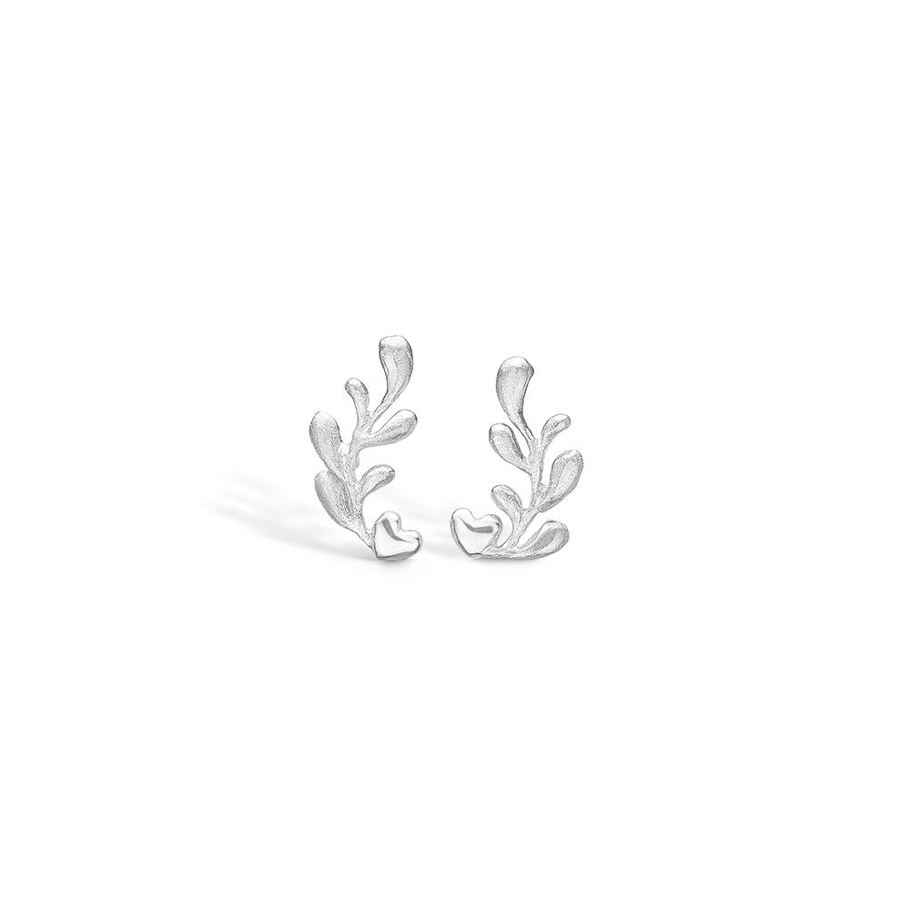 Image of   Blossom sølv hjerte ørestikker med gren rhod. mat/blank