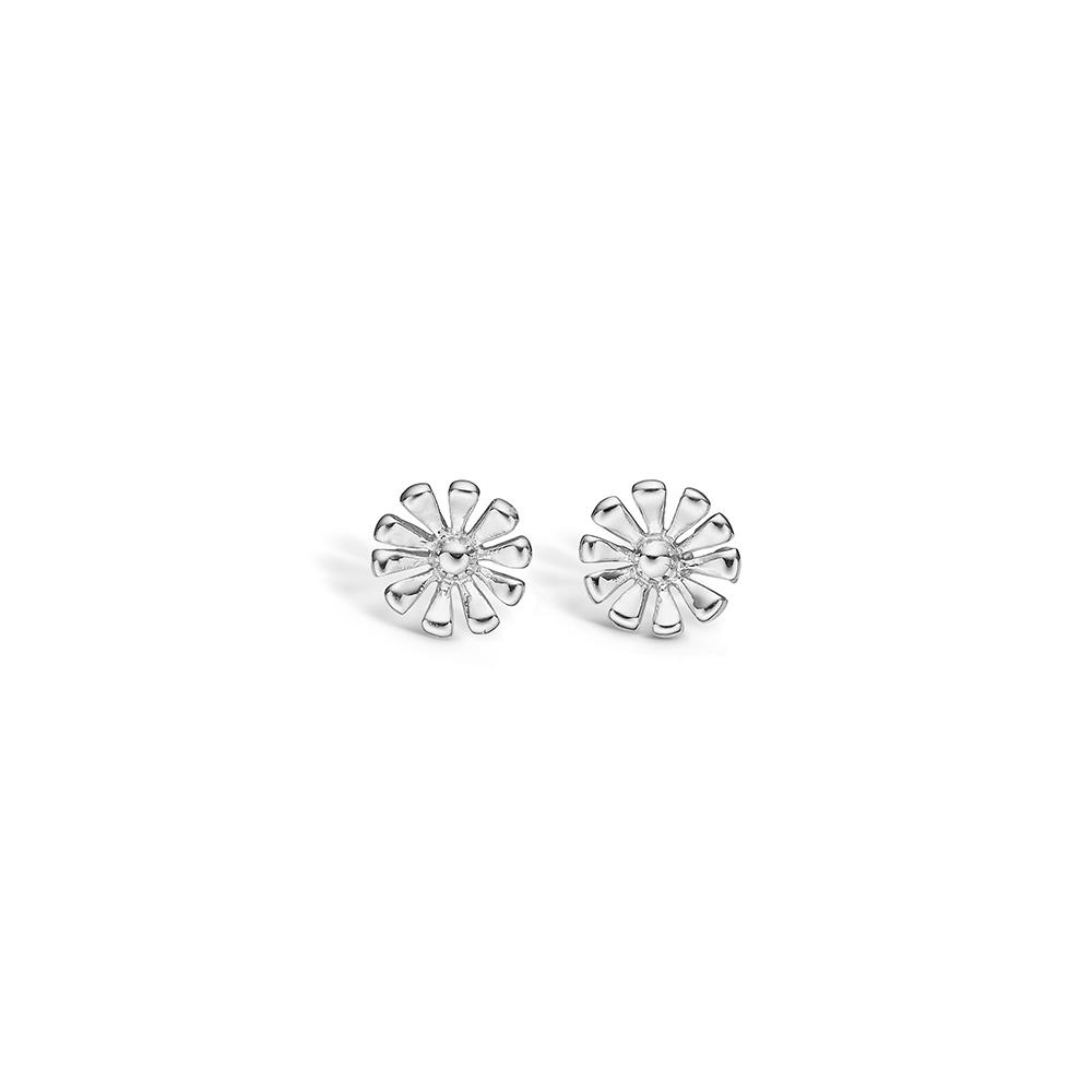 Blossom sølv blomster ørestikker rhod. blank