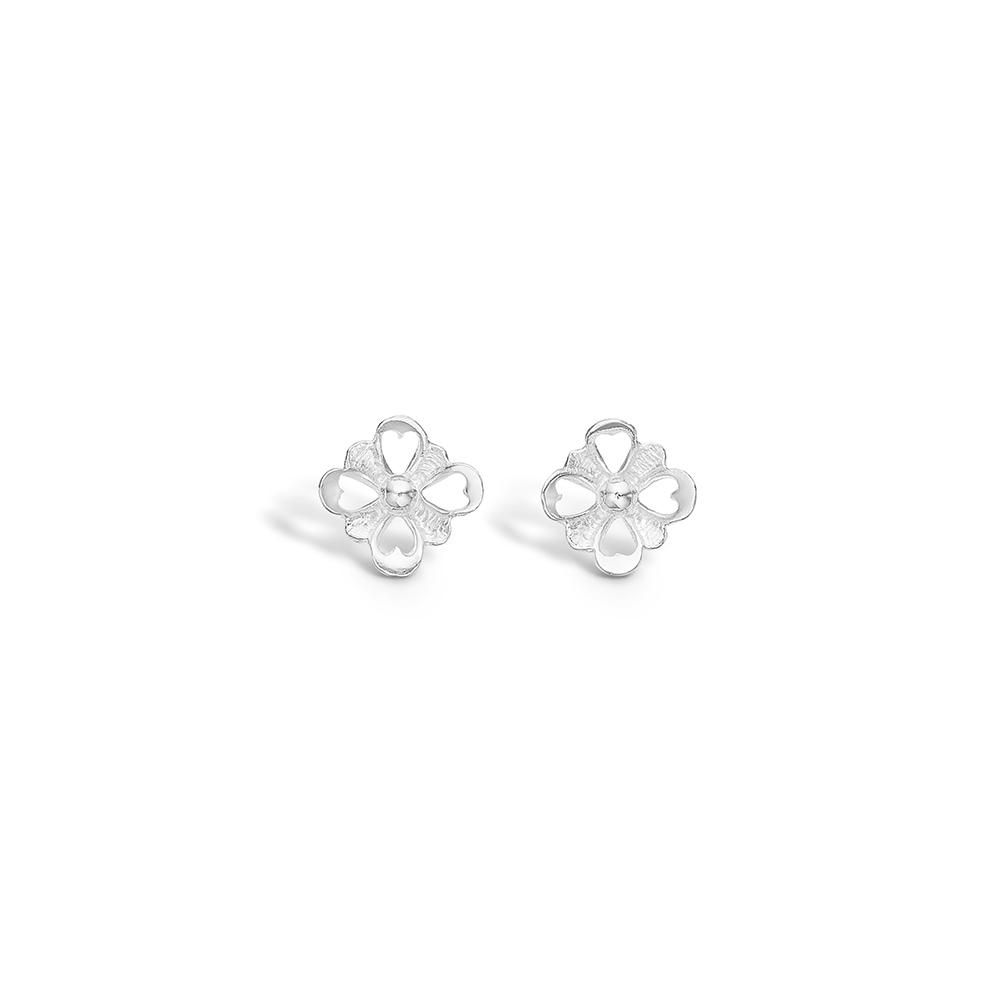 Image of   Blossom sølv firkløver blomster ørestikker rhod.