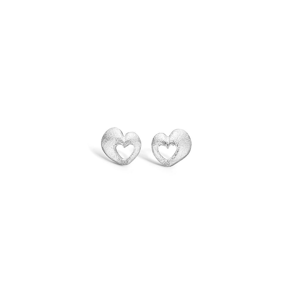 Image of   Blossom sølv mat hamret hjerte ørestikker rhod.