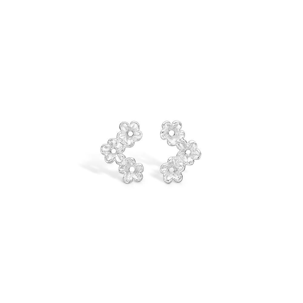 Blossom sølv ørestikker med 3 blomster rhod.