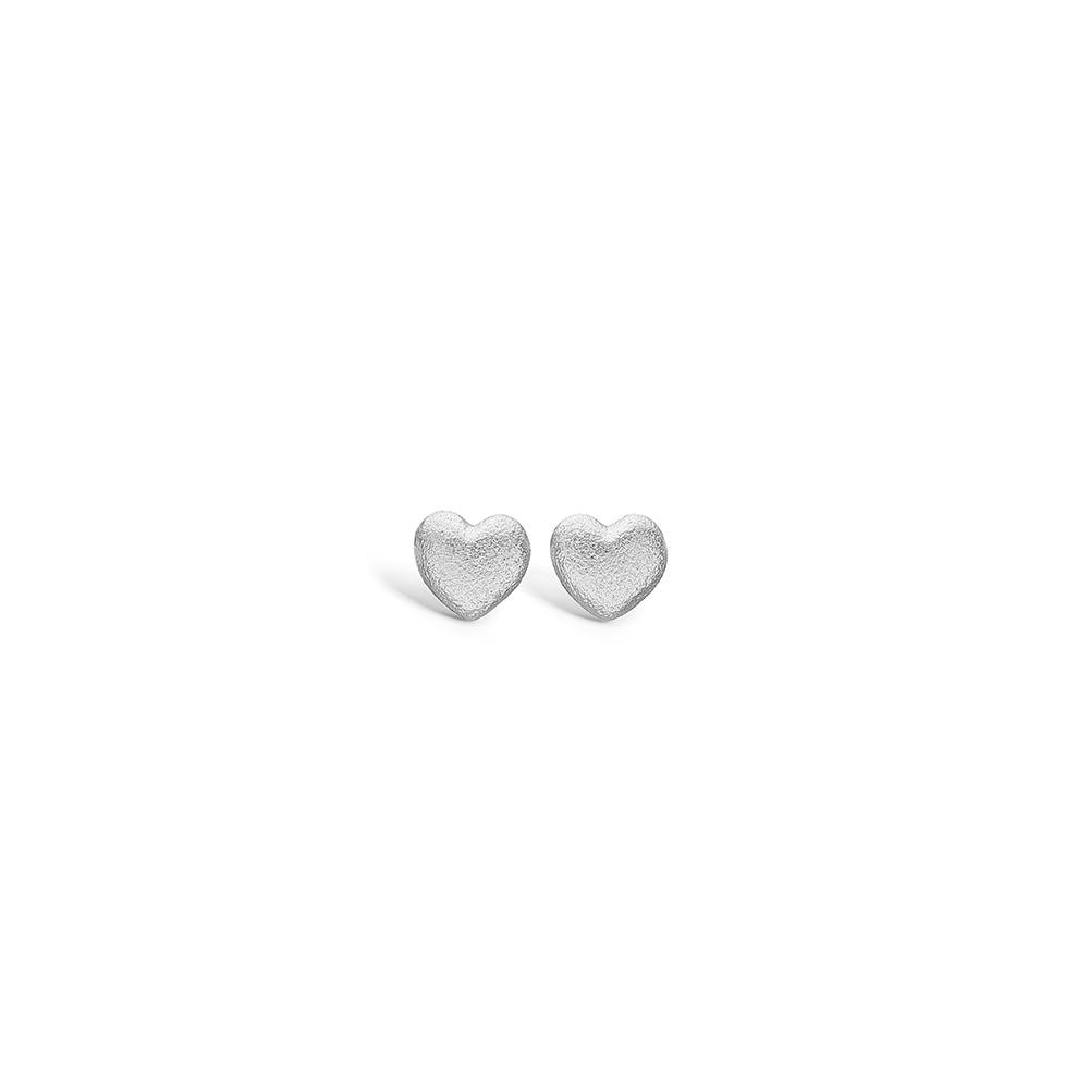 Blossom små sølv hjerte ørestikker mat hamret rhod.