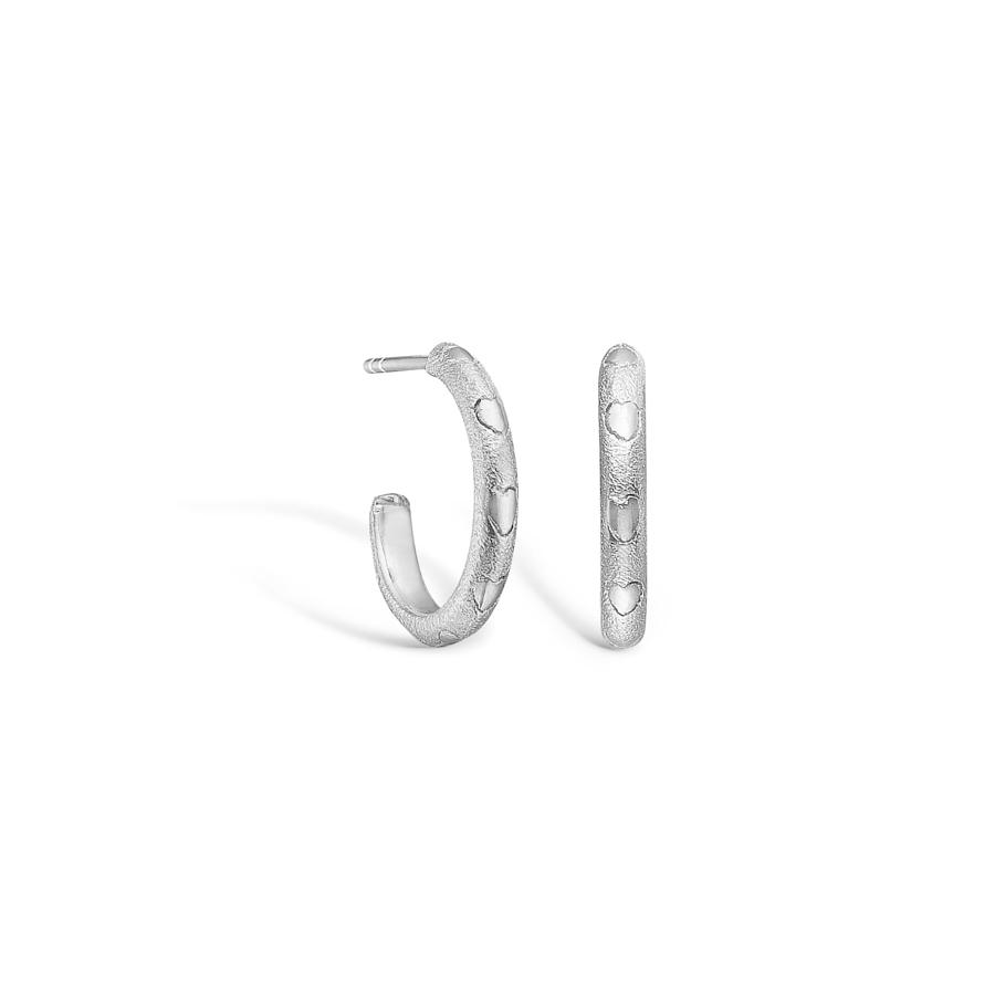 Image of   BLOSSOM øreringe i mat sølv med hjerter