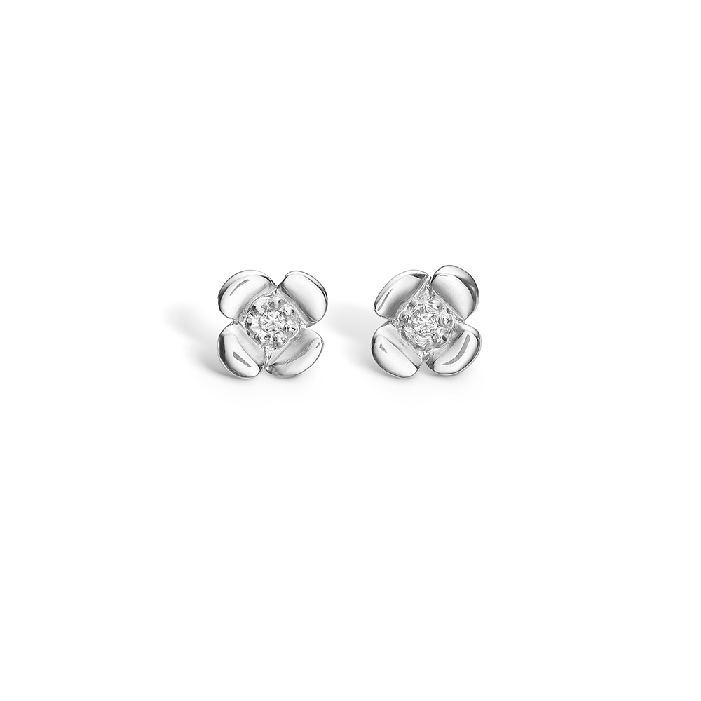 Image of   Blossom sølv ørestikker blanke blomster rhod. med cz