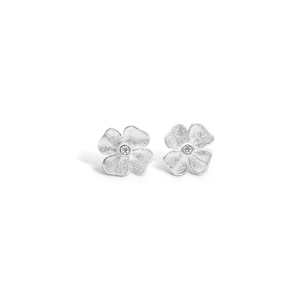 Image of   Blossom sølv blomster ørestikker med 4 blade rhod. cz