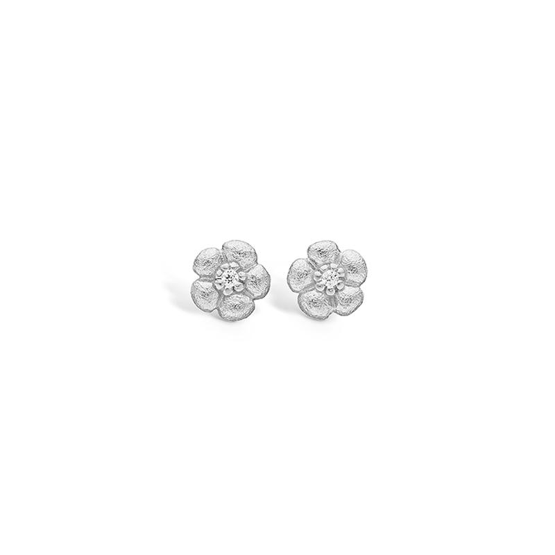 Image of   Blossom sølv blomster ørestikker rhod. mat hamret med cz