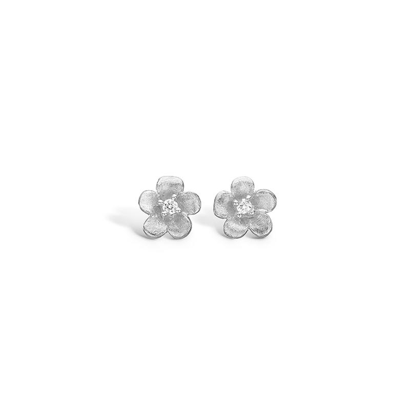 Image of   Blossom sølv mat børstet blomster ørestikker rhod. med cz