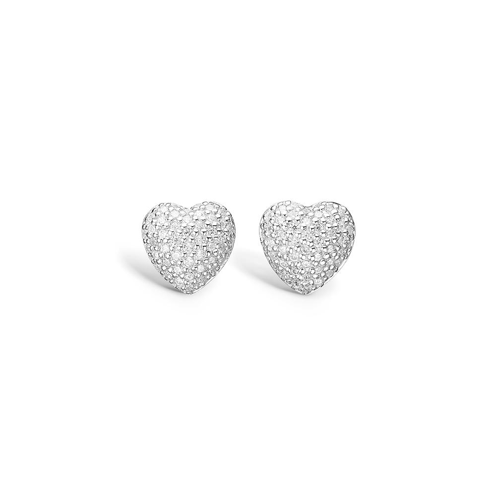 E-Signature sølv pave hjerte ørestikker rhod. med hvid cz