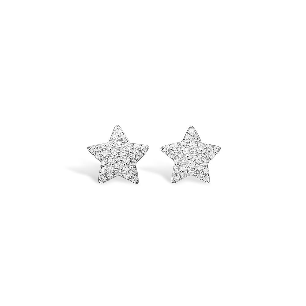 E-Signature sølv pave stjerne ørestikker rhod. med hvid cz