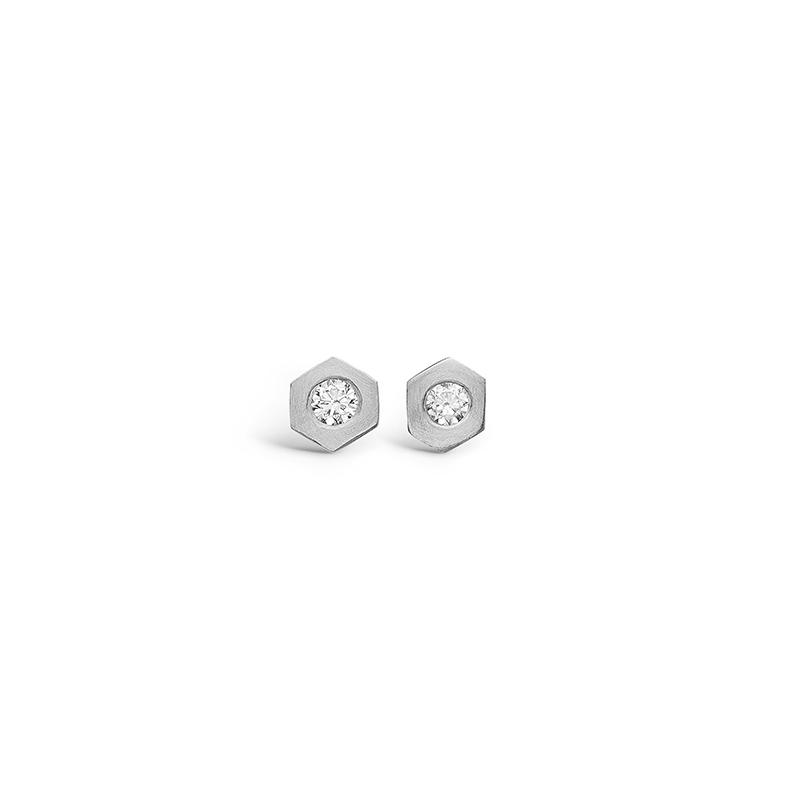 E-Signature sølv sekskantet ørestikker rhod. med cz