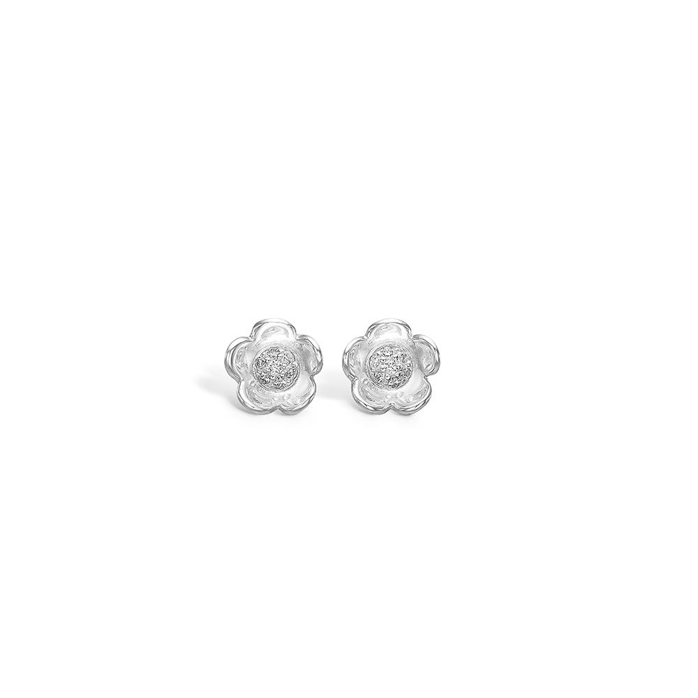 E-Signature sølv blomster ørestikker rhod. blank med CZ