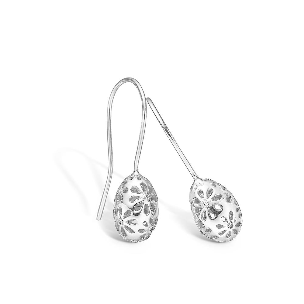 Blossom sølv dråbe blomster ørehænger rhod. med CZ