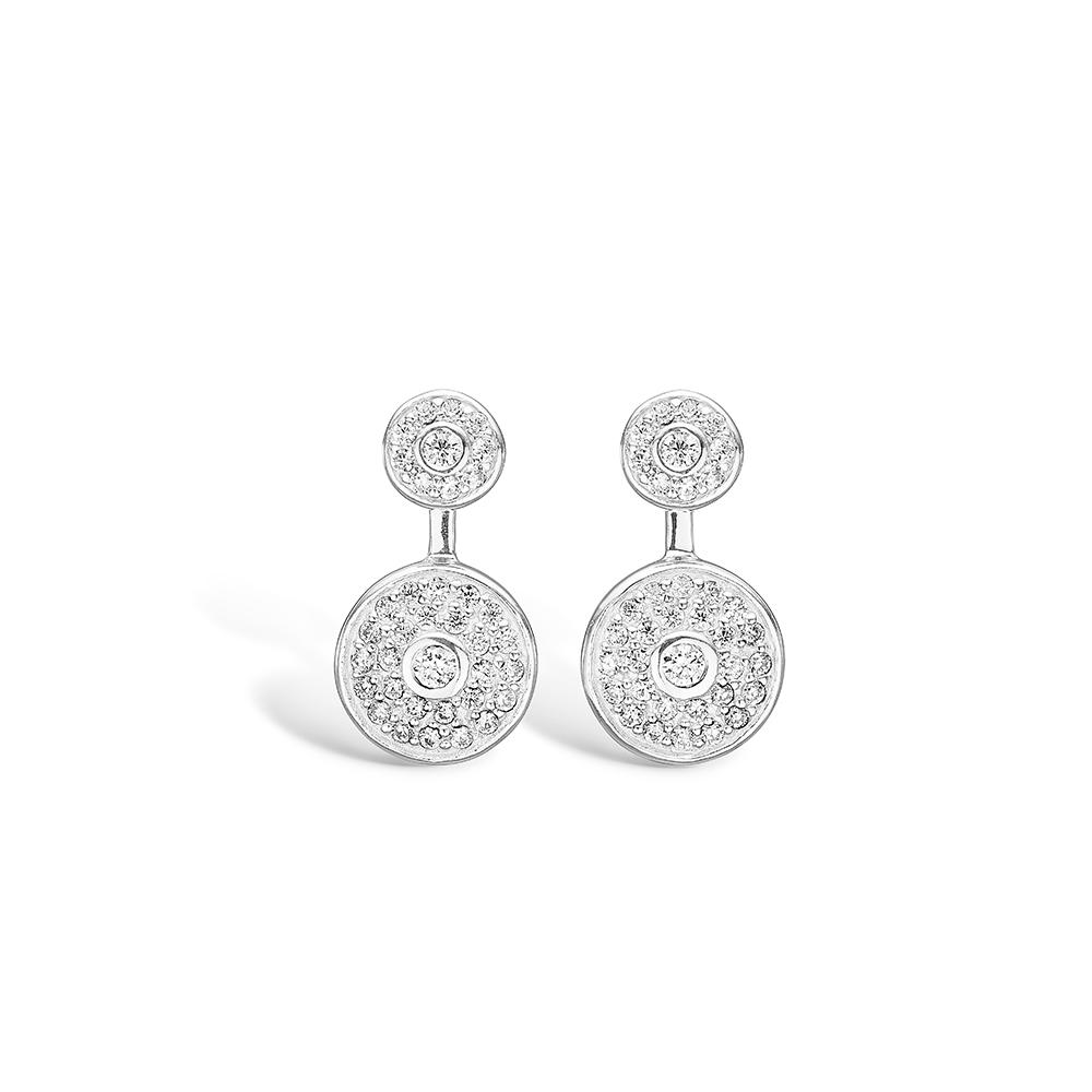 E-Signature sølv runde dobbelt ørestikker rhod. med cz