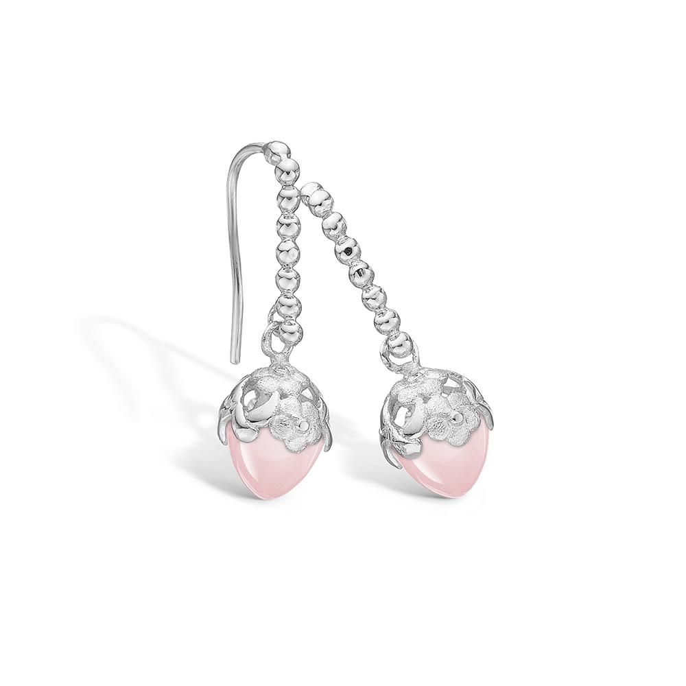 Blossom sølv ørehænger med lille Rosakvarts