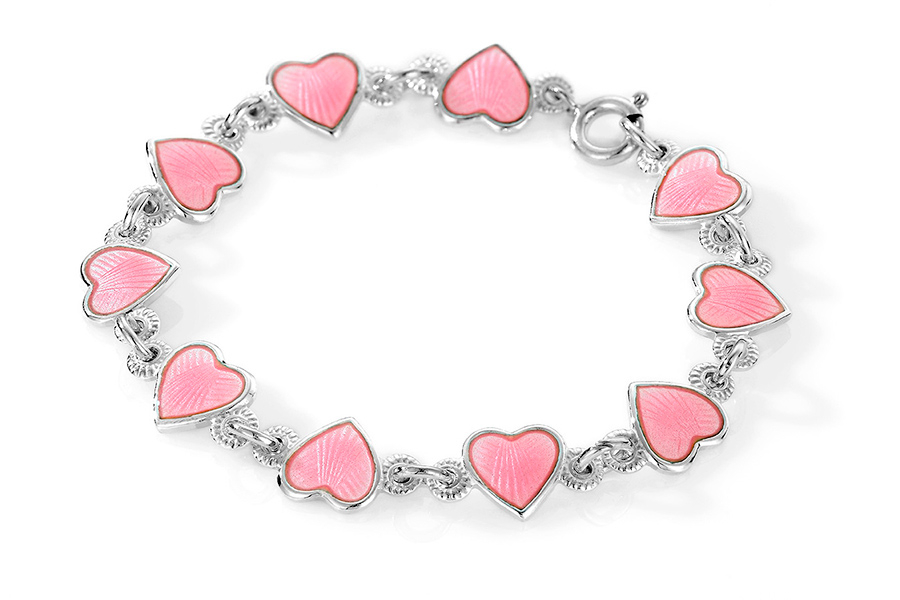 Pia & Per børnearmbånd med hjerter i sølv, rosa thumbnail