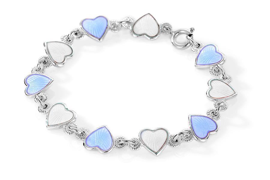 Pia & Per børnearmbånd med hjerter i sølv, blå og hvid thumbnail