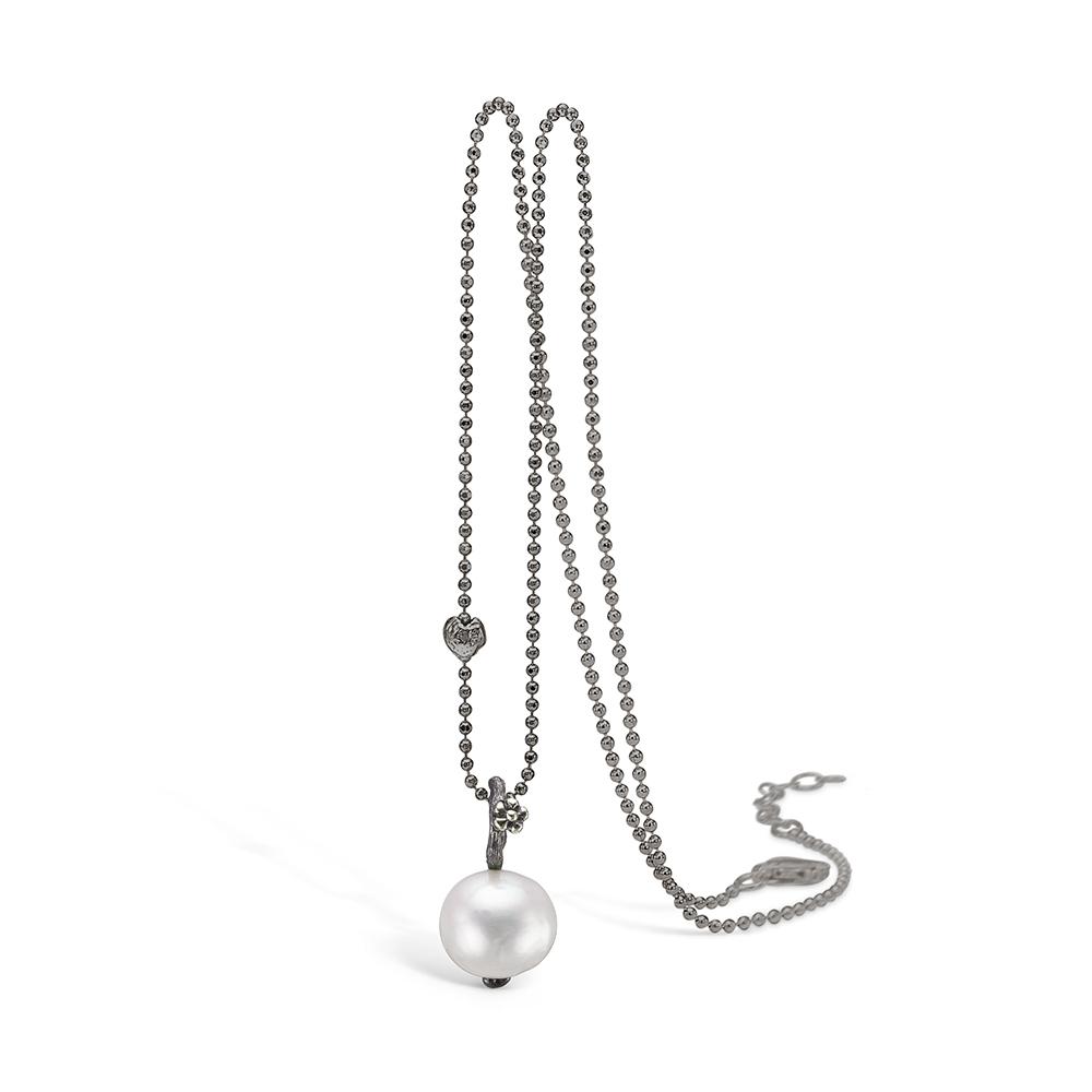 Image of   Blossom sølv oxideret perle vedhæng, 80cm
