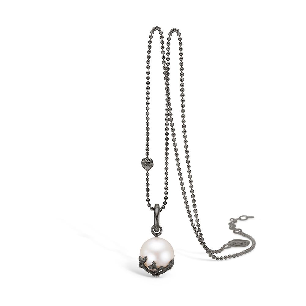 Image of   Blossom sølv oxideret perle vedhæng, 45 cm
