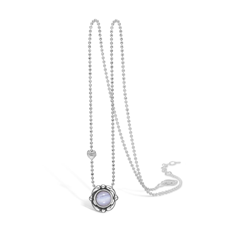 BLOSSOM halskæde med vedhæng i sølv og lyseblå agat