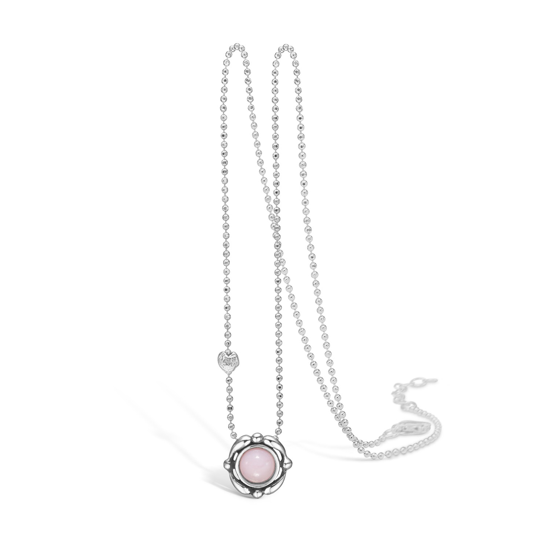 Image of   BLOSSOM halskæde med vedhæng i sølv og pink opal