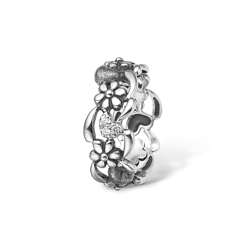 Image of   Blossom sølv ring med blomster, hjerter og 3 cubic zirkoner